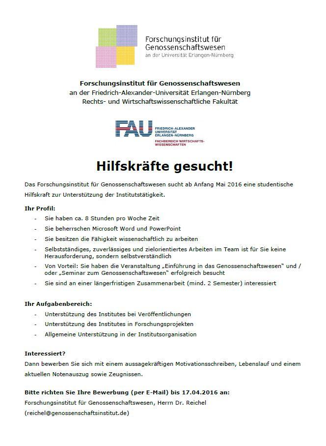 studentische hilfskraft fr das forschungsinstitut genossenschaftswesen an der fau gesucht - Studentische Hilfskraft Bewerbung