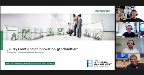 "Towards entry ""Fascinating digital guest lecture on the topic ""Fuzzy Front-End of Innovation"" by Dr. Daniel Kiel, Innovation Manager @Schaeffler"""
